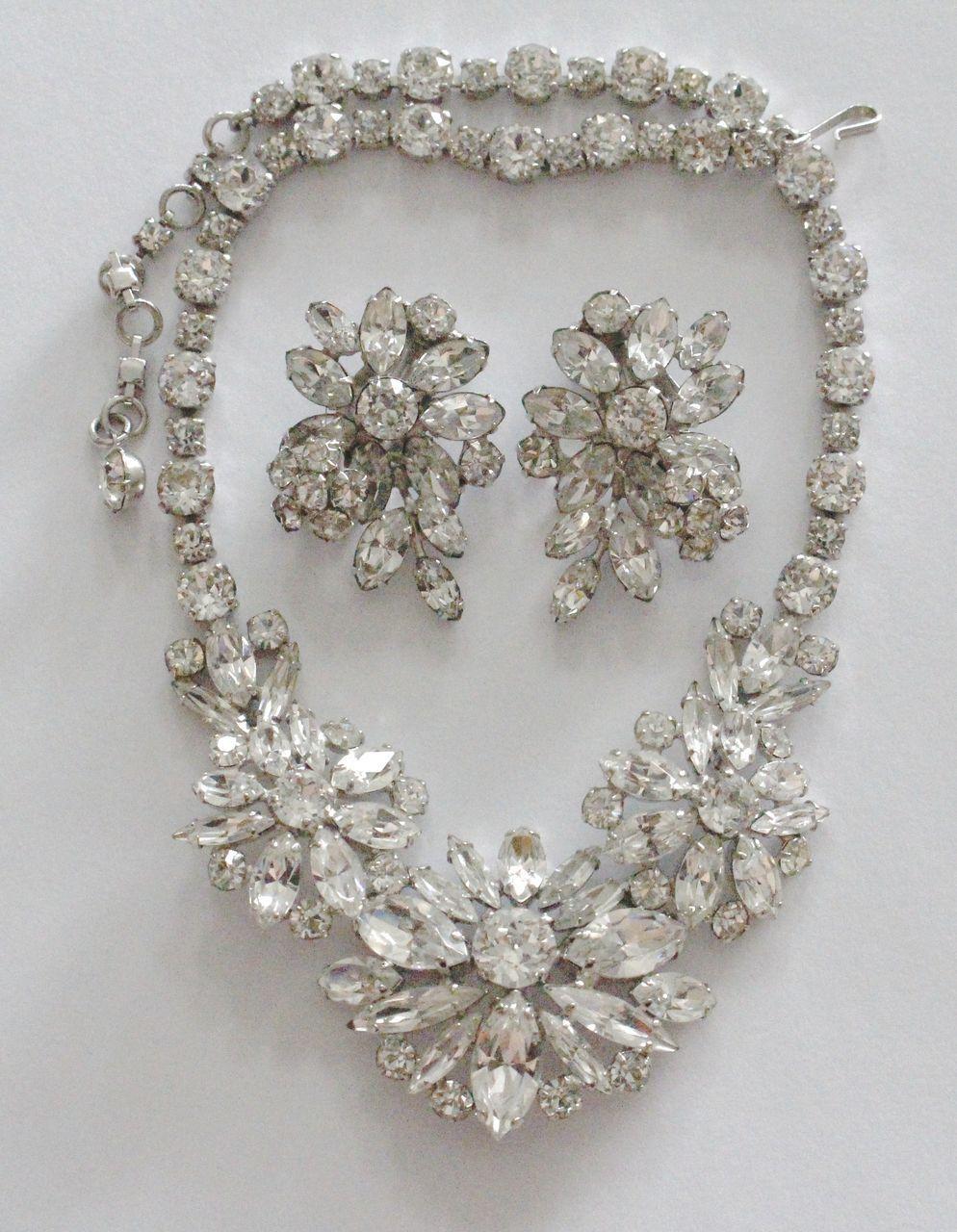 Sherman Swarovski Crystal Rhinestone Floral Necklace & Earrings