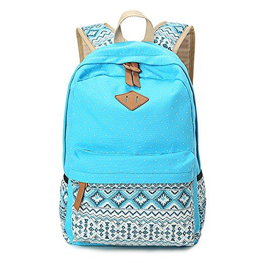 Fashion Cute Lightweight Backpacks for Teen Young Girls HITOP Geometry Dot Casual Canvas Backpack Bag