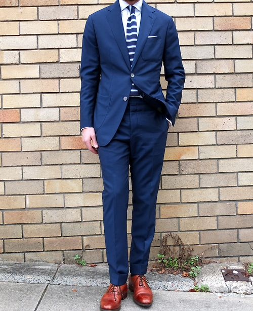 Blue and those tasty cognac cap toes, always dapper...