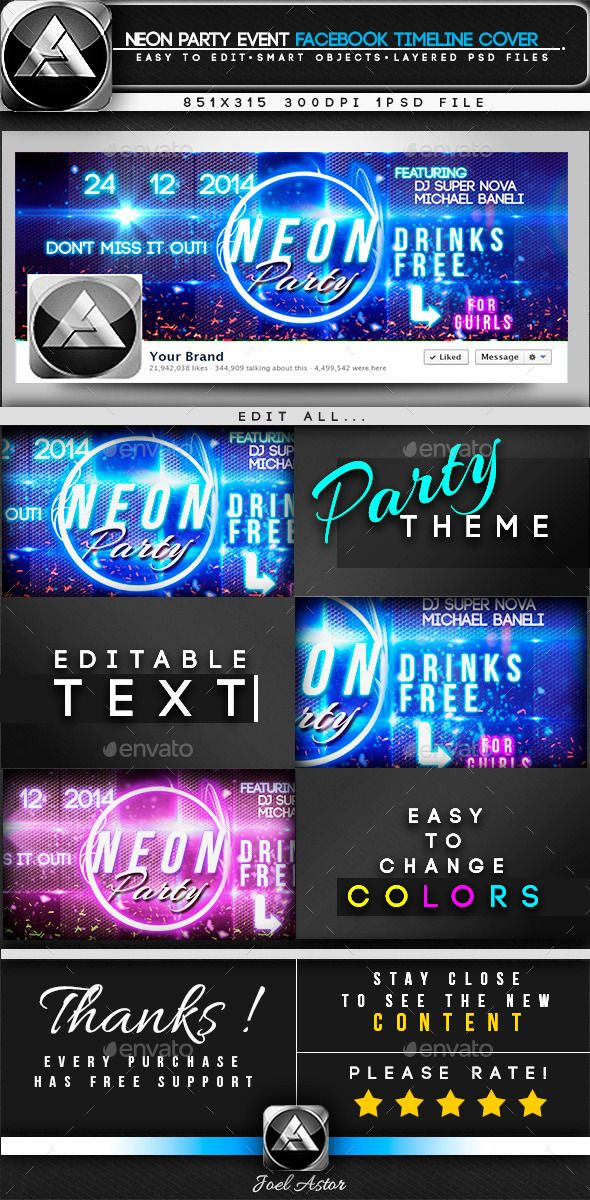 Neon Party Event Facebook Timeline Cover  Neon Party Timeline