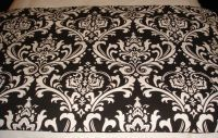 Black and White Damask Dorm Bed Scarf