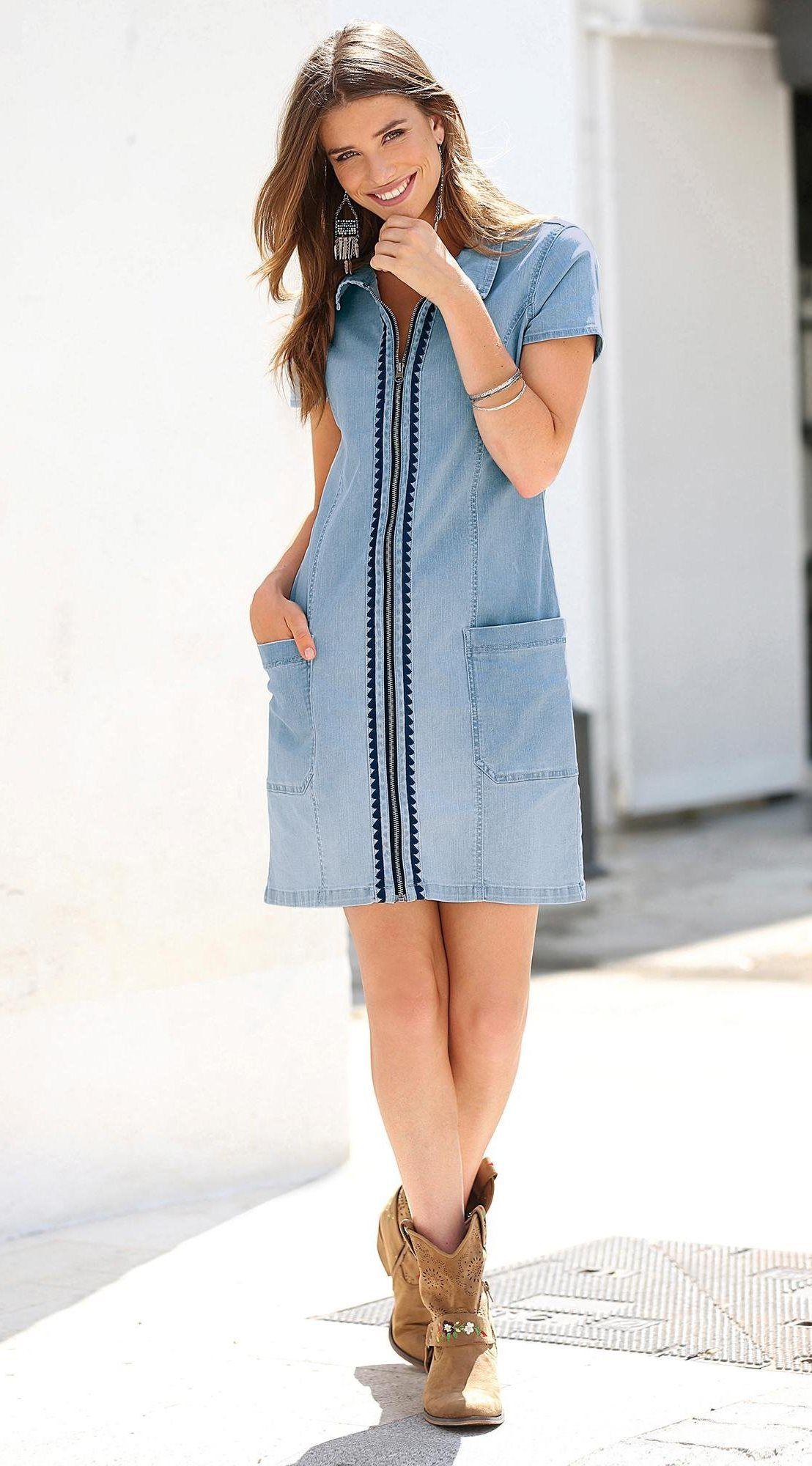 6b3b275b7f0 Robe chemise zippée manches courtes broderie femme Exclusivité 3SUISSES -  Bleu Ciel