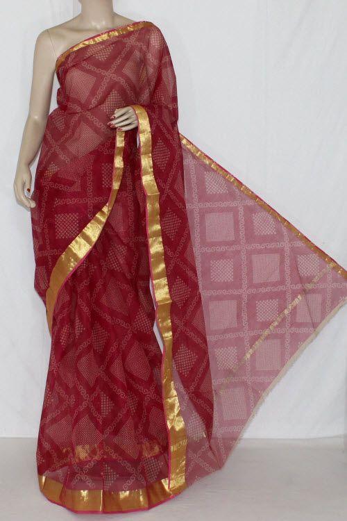 56591744e6e910 Maroon JP Kota Doria Chunri Print Cotton Saree (without Blouse) Golden Zari  15242
