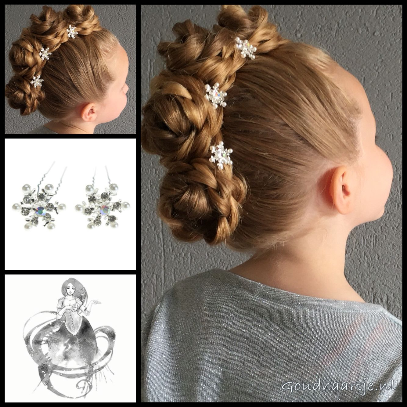 Bunhawk hairstyle with beautiful hairpins from the webshop