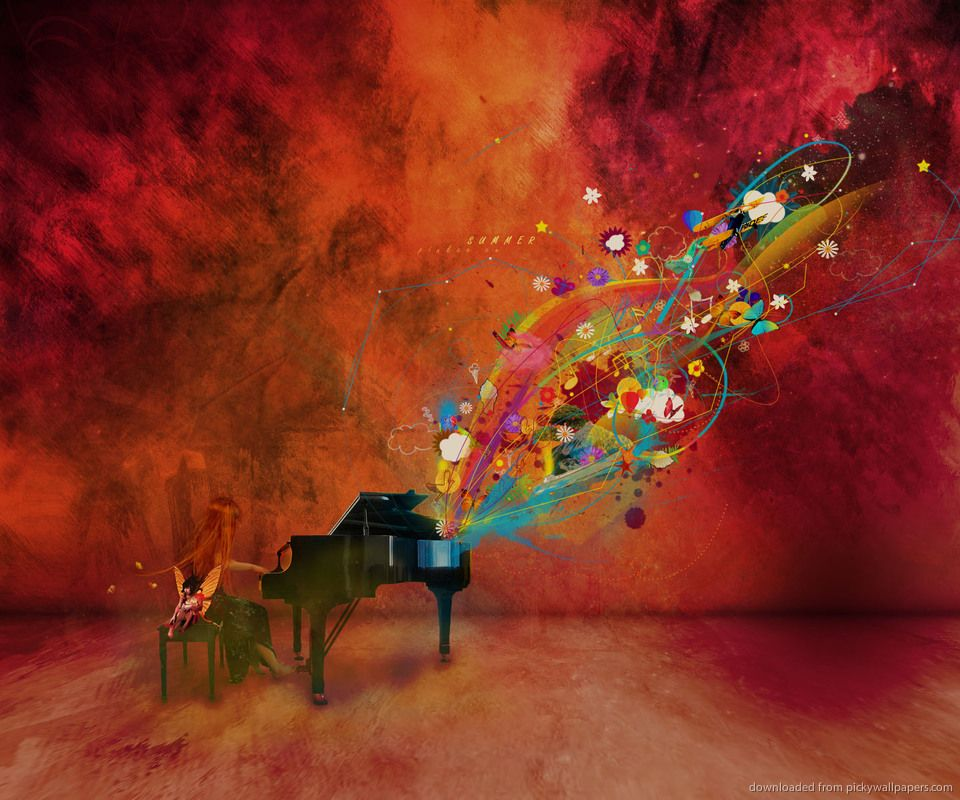 Download Colorful Piano Art Wallpaper For Samsung Vibrant960 X 800