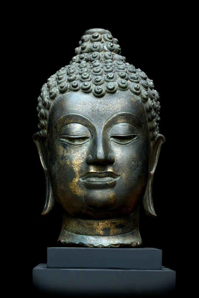 Extremely Rare Early 17c Bronze Chiangsang Buddha Head Dw059 Buddha Sculpture Buddha Art Buddha