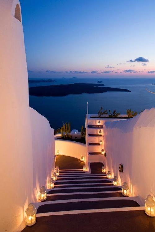 Lantern Stairs, Santorini, Greece  photo via travelive #travelbugs