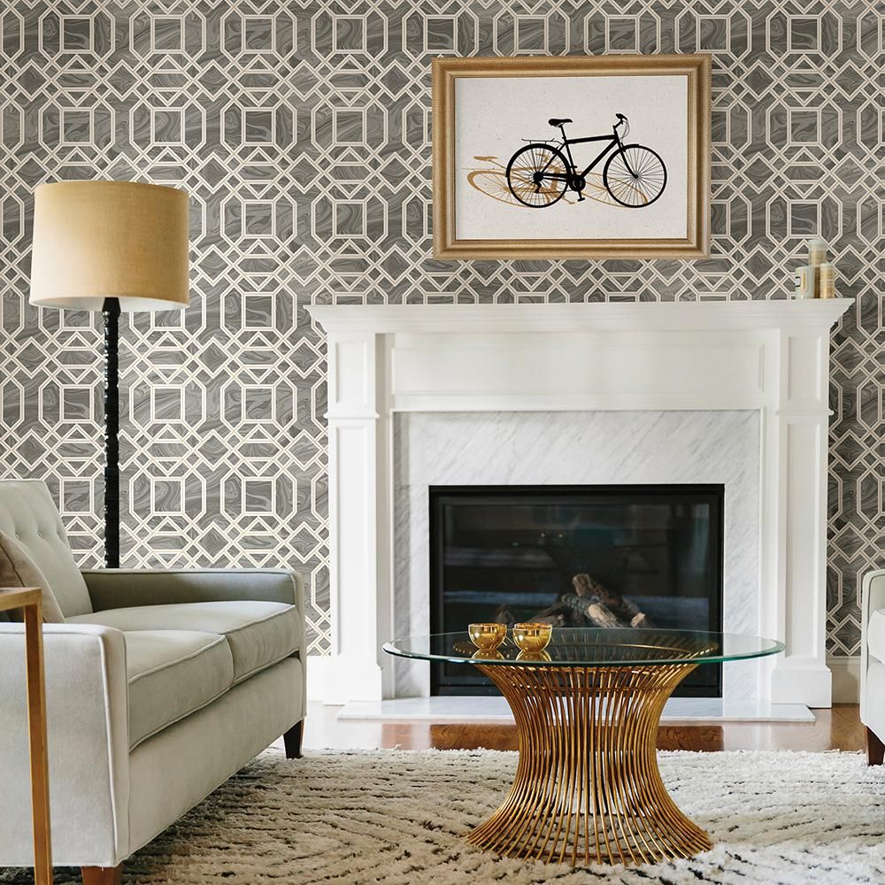 A-Street 8 In. X 10 In. Daphne Grey Trellis Wallpaper