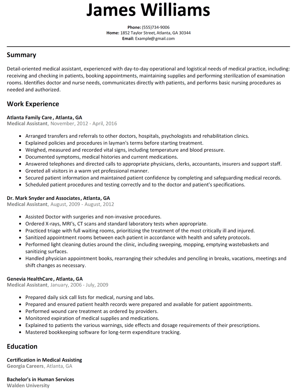 Resume Examples Medical Assistant Medical assistant
