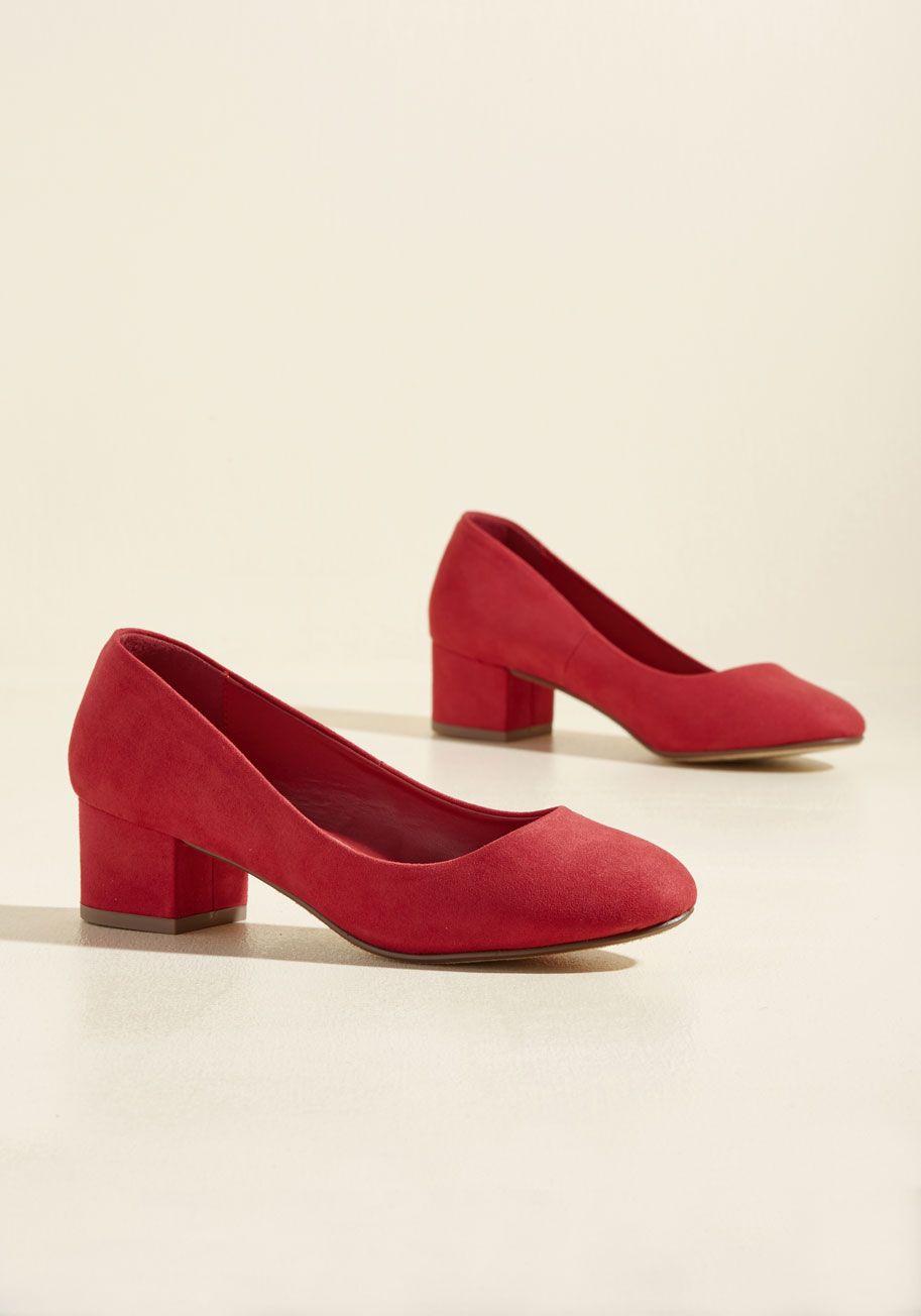 red low block heels