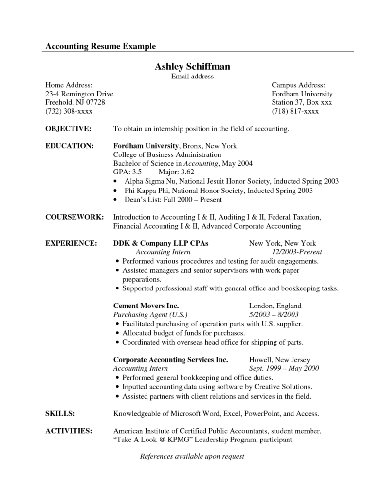 Sample Resume For Accountant Position Contractor Security Guard