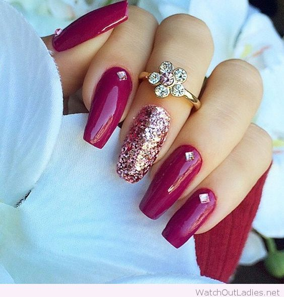 Burgundy With Gold Details Nails