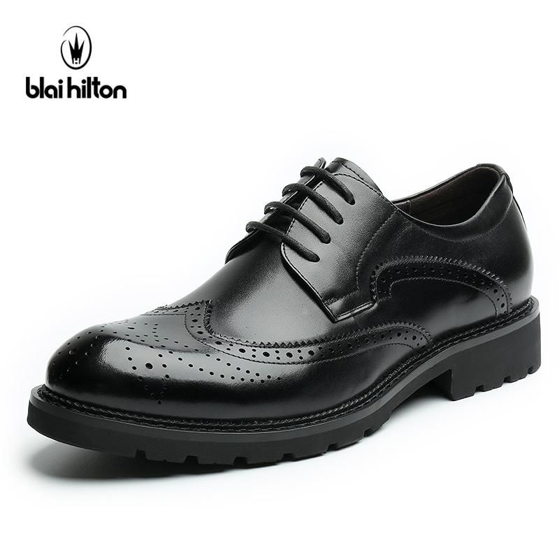 Blaibilton 100 Genuine Leather Brogue Business Formal Dress Men Shoes  Classic Office Wedding Mens Shoes