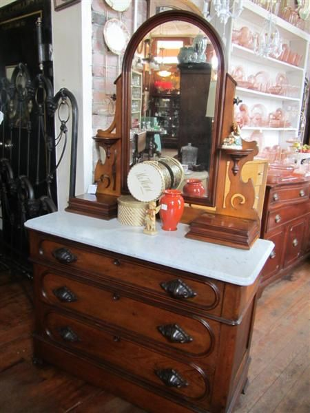 1900 S Walnut Dresser With Mirror And