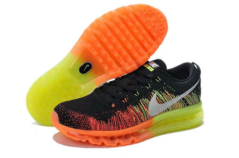 the latest ff933 a47a8 1830   Nike Air Max Flyknit Dam Svart Gul Orange SE893483ZNlIPtAL