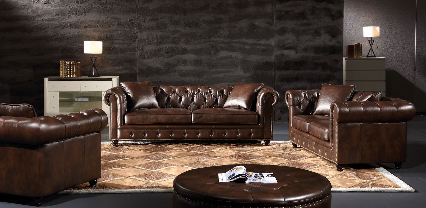 Real Leather Eskridge Traditional Brown Chesterfield Sofa Loveseat