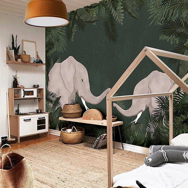 Papier Peint Panoramique Elephant Chambre Enfant Kidsbedroom In