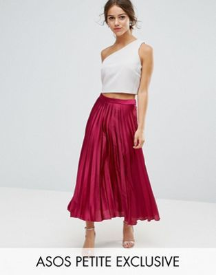 3e7c650d89f6 ASOS PETITE Exclusive Pleated Midi Skirt in Satin with Splices ...