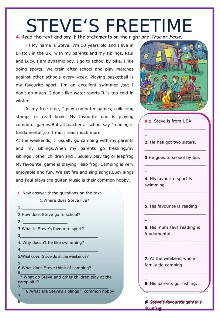 Stevens Free Time Reading Comprehension Http Myreadingkids Com Stevens Free Time Reading Teaching Spelling Reading Comprehension Reading Comprehension Texts Reading worksheets year 7
