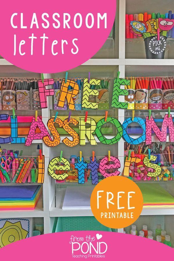 Printable Bulletin Board Letters Future Classroom Pinterest