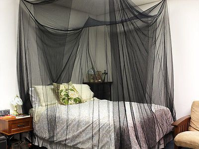 4 (Four) Corner Post Bed Black Canopy Mosquito Net Full Queen King Size Netting & 4 (Four) Corner Post Bed Black Canopy Mosquito Net Full Queen King ...