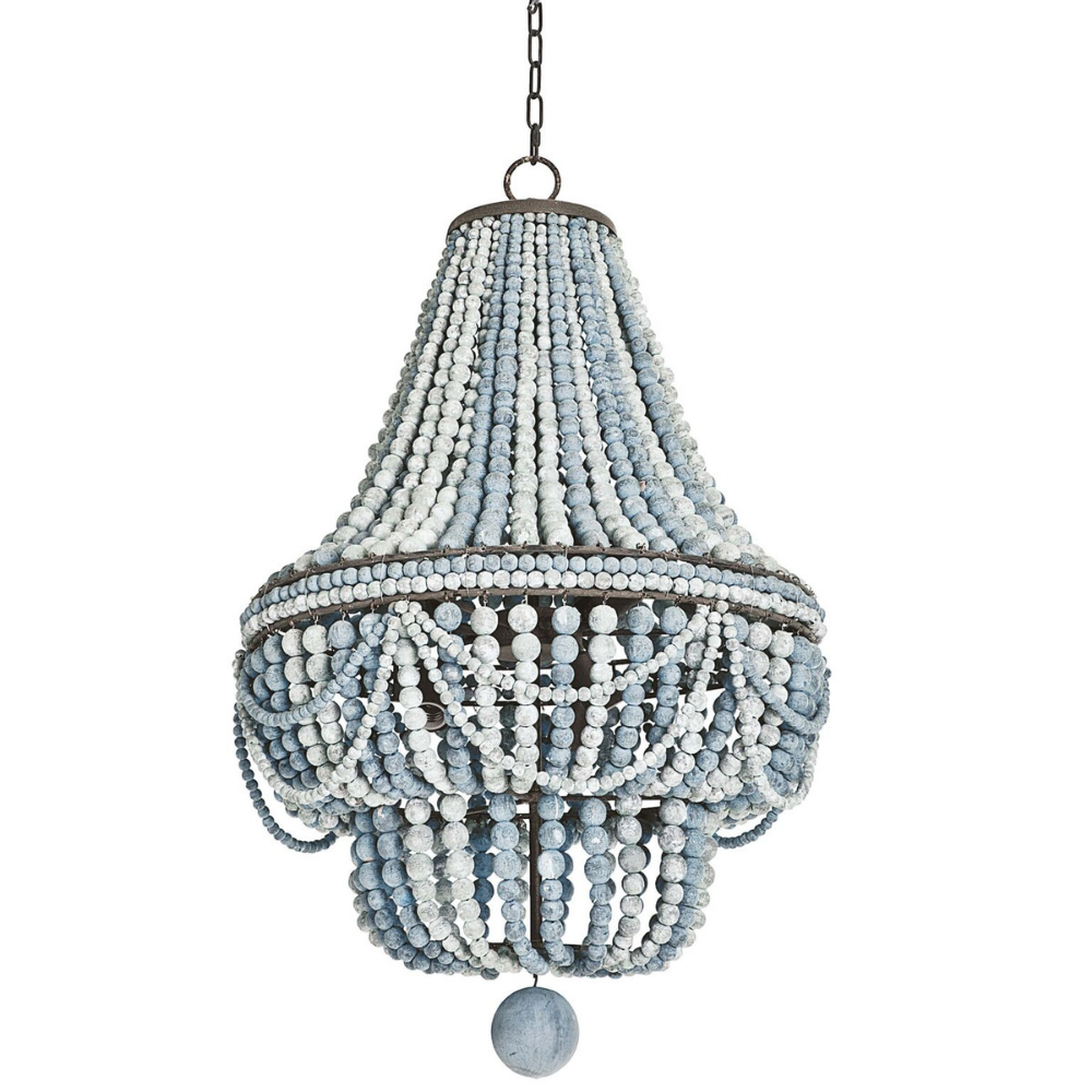 Deauville Chandelier Whimsical Design W Weathered Pastel Shade Wisteria Wood Bead Chandelier Wooden Bead Chandelier Blue Chandelier