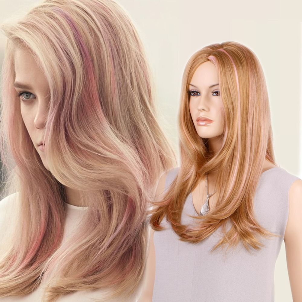 bfa7edc6b Find More Synthetic Wigs Information about Pink highlight brown synthetic  hair long nice natrual wavy synthetic wigs for white woman fashion style  fantasy ...