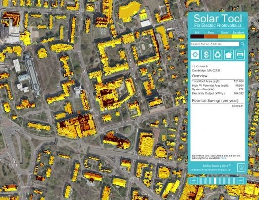 Solar energy potential, mapped in Cambridge