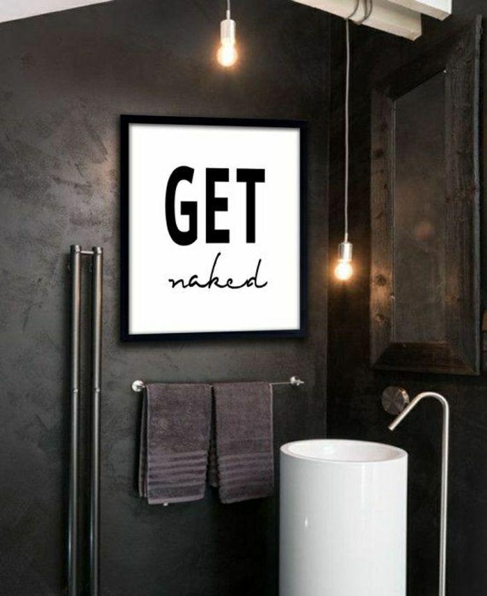 Badezimmer-Deko-Ideen-cooler-Anspruch-Wandbild-schwarze-Wand