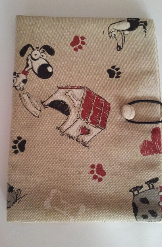 Cloth Cover Book Printing : Fabric book cover with cute dogs cotton