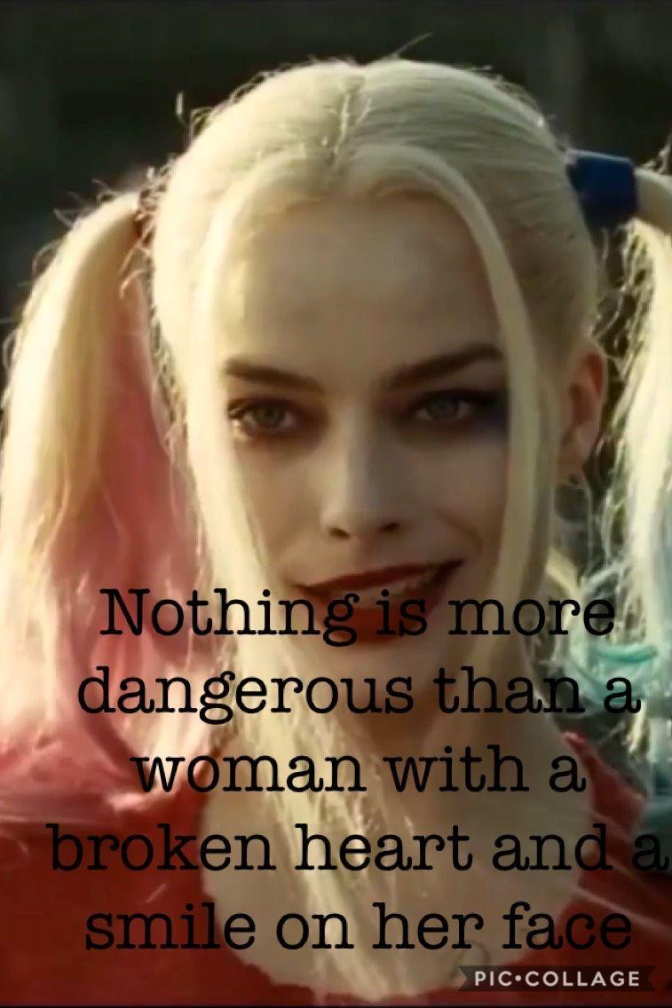 Niente è più pericoloso di una donna con il cuore spezzato e il sorriso sul suo viso😈 #harleyquinnfunny