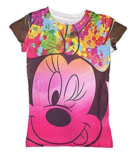 Disney Girls Minnie Mouse Big Face Sublimated Fashion T Shirt - Multicolored
