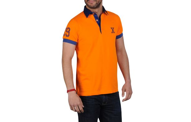 Polo homme manches courtes orange fluo doublure