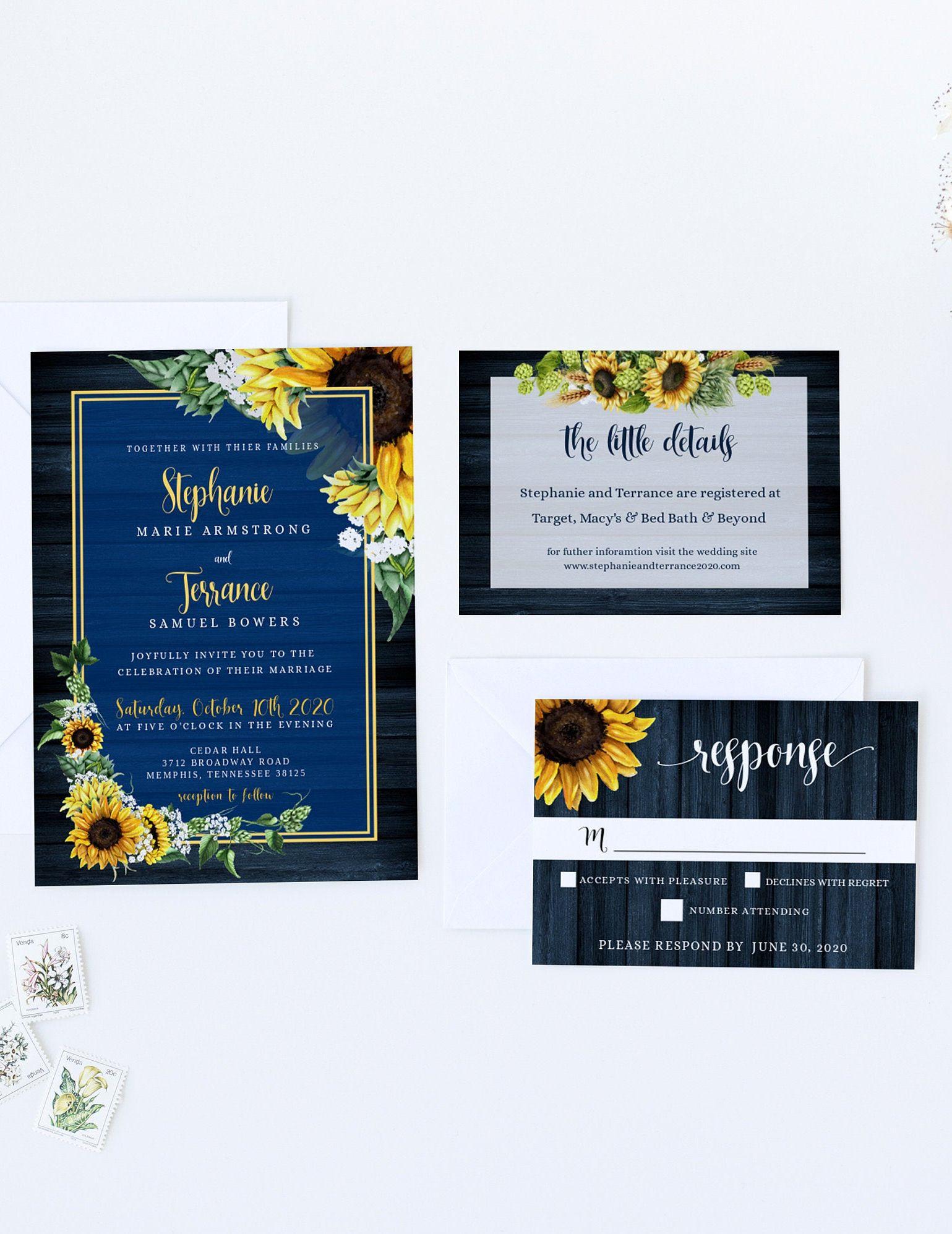 Navy Blue Rustic Sunflower Wedding Invitation SetWood