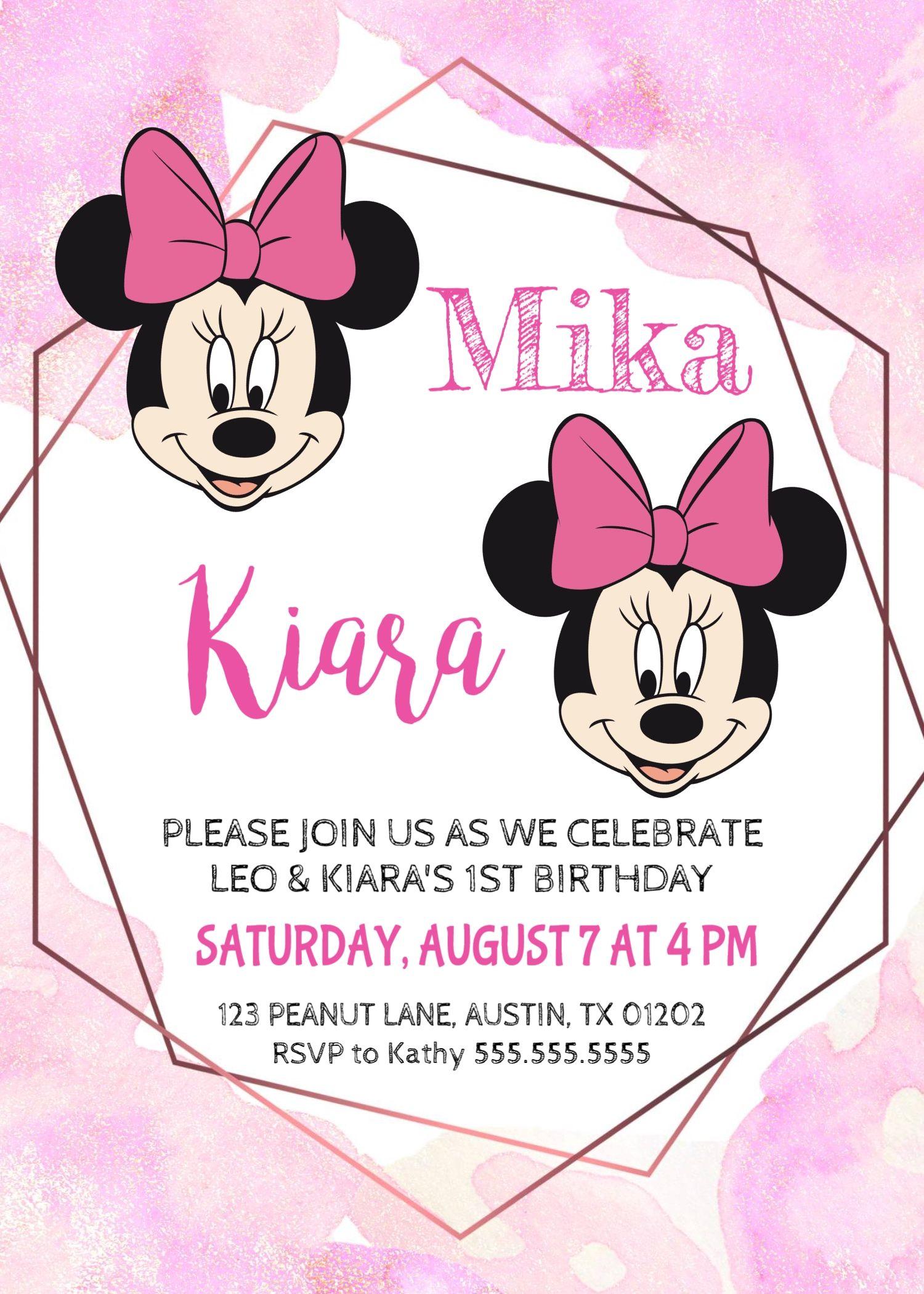 Minnie Mouse Twin Girls Birthday Invitation, Minnie Girl Invite ...