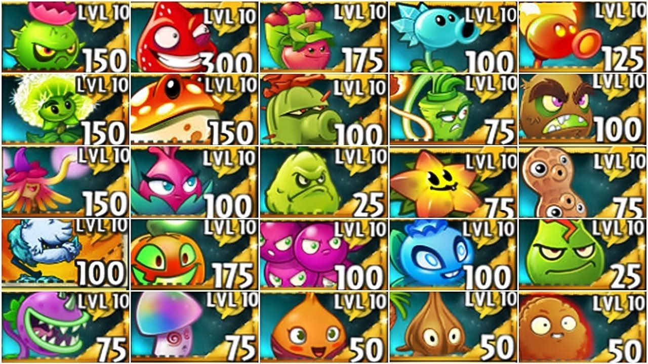 All Plants Premium Max Level Up System Vs Zombies Pvz 2 in