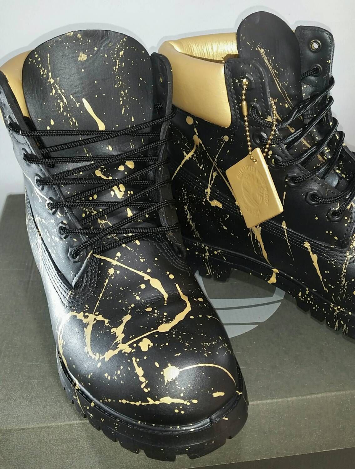 Custom Black and Gold 24K Timberland Boots- Hand Painted Timberlands-  Custom Timberlands- Men Woman Kids Timberlands by DivineUnlimited on Etsy 39bc30cbc4ce
