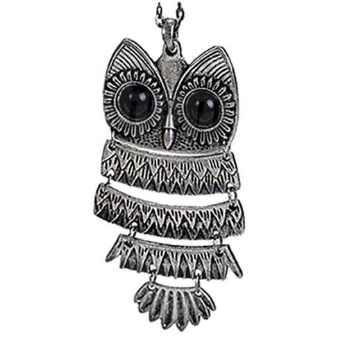 Hinged owl pendant necklace in silver ferocious animal glam hinged owl pendant necklace in silver aloadofball Image collections