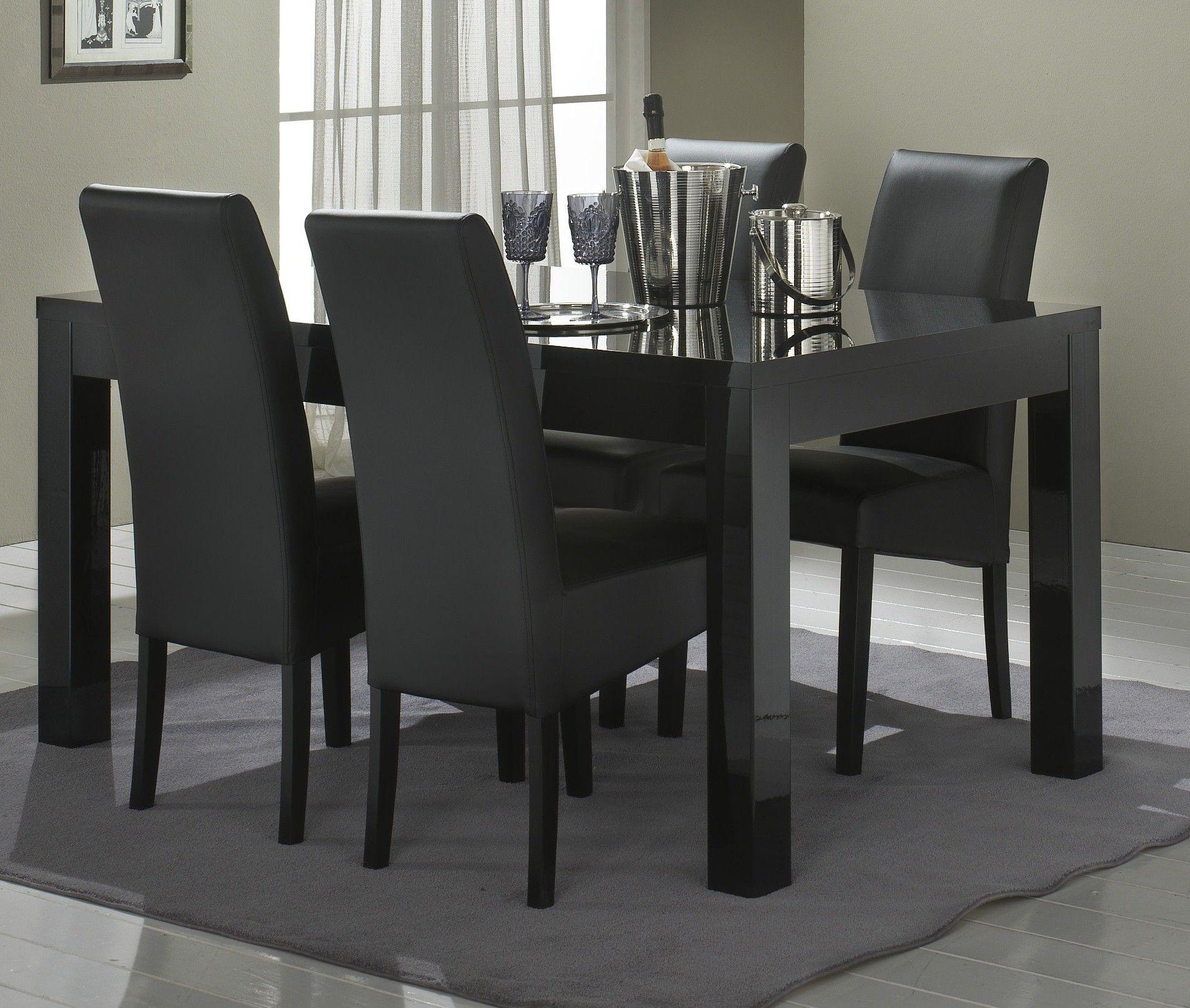 Table de salle à manger design laquée noire Solene http://www ...