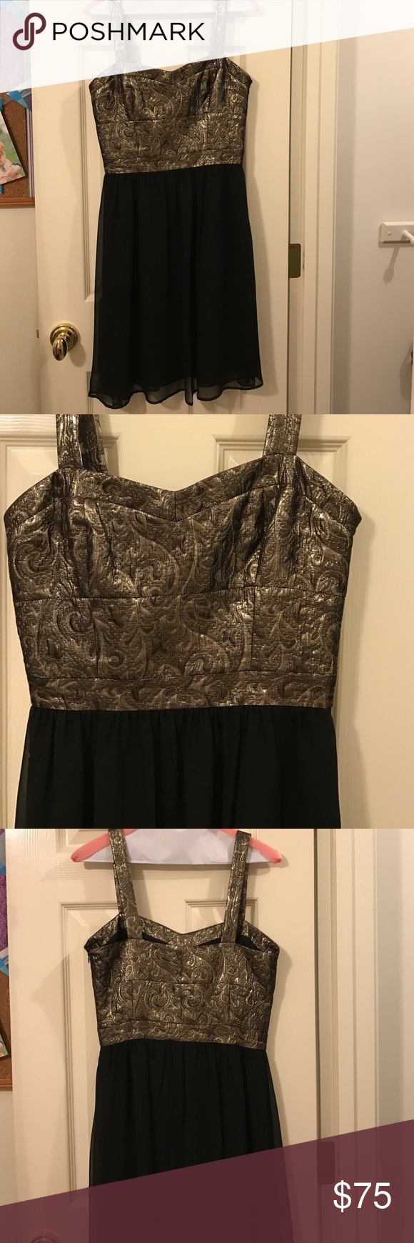 Black and gold cocktail dress worn once then dry cleaned perfect