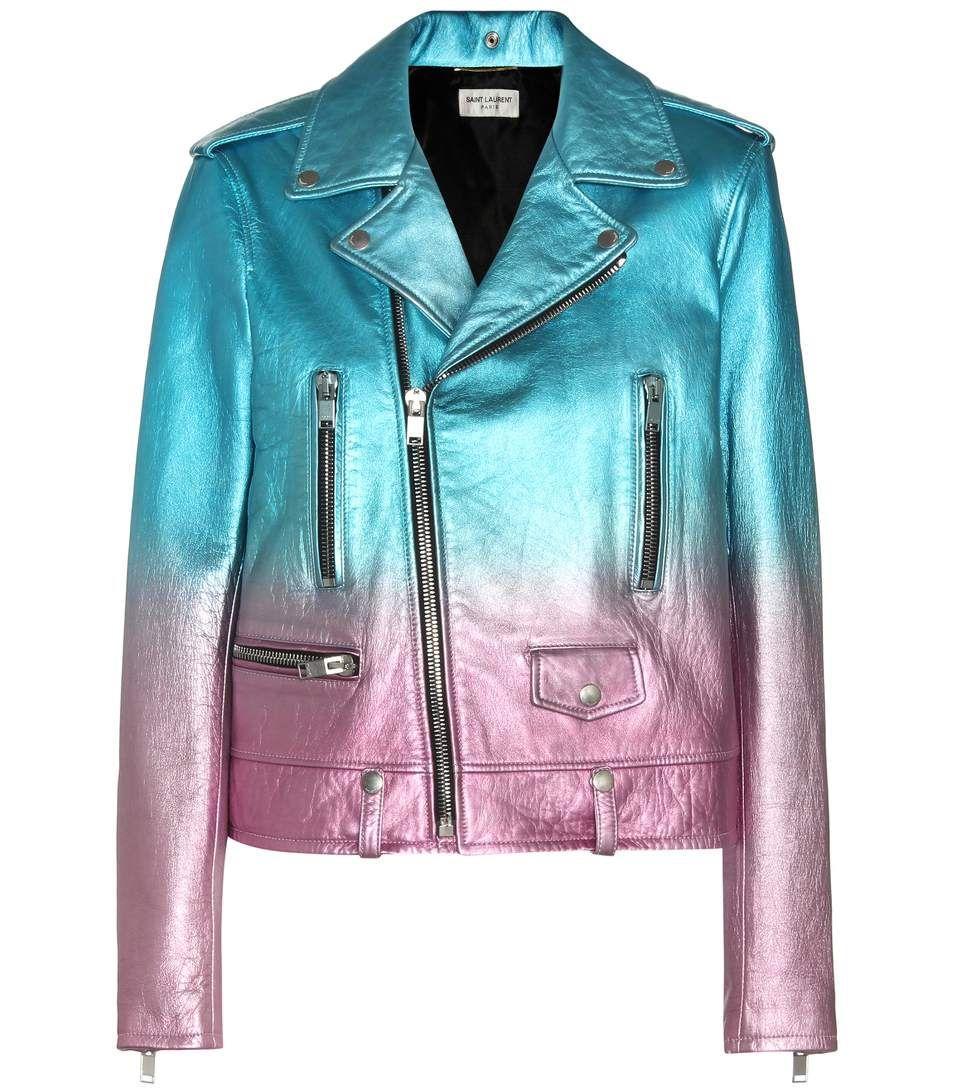 SAINT LAURENT Metallic Leather Biker Jacket. #saintlaurent #cloth #jackets