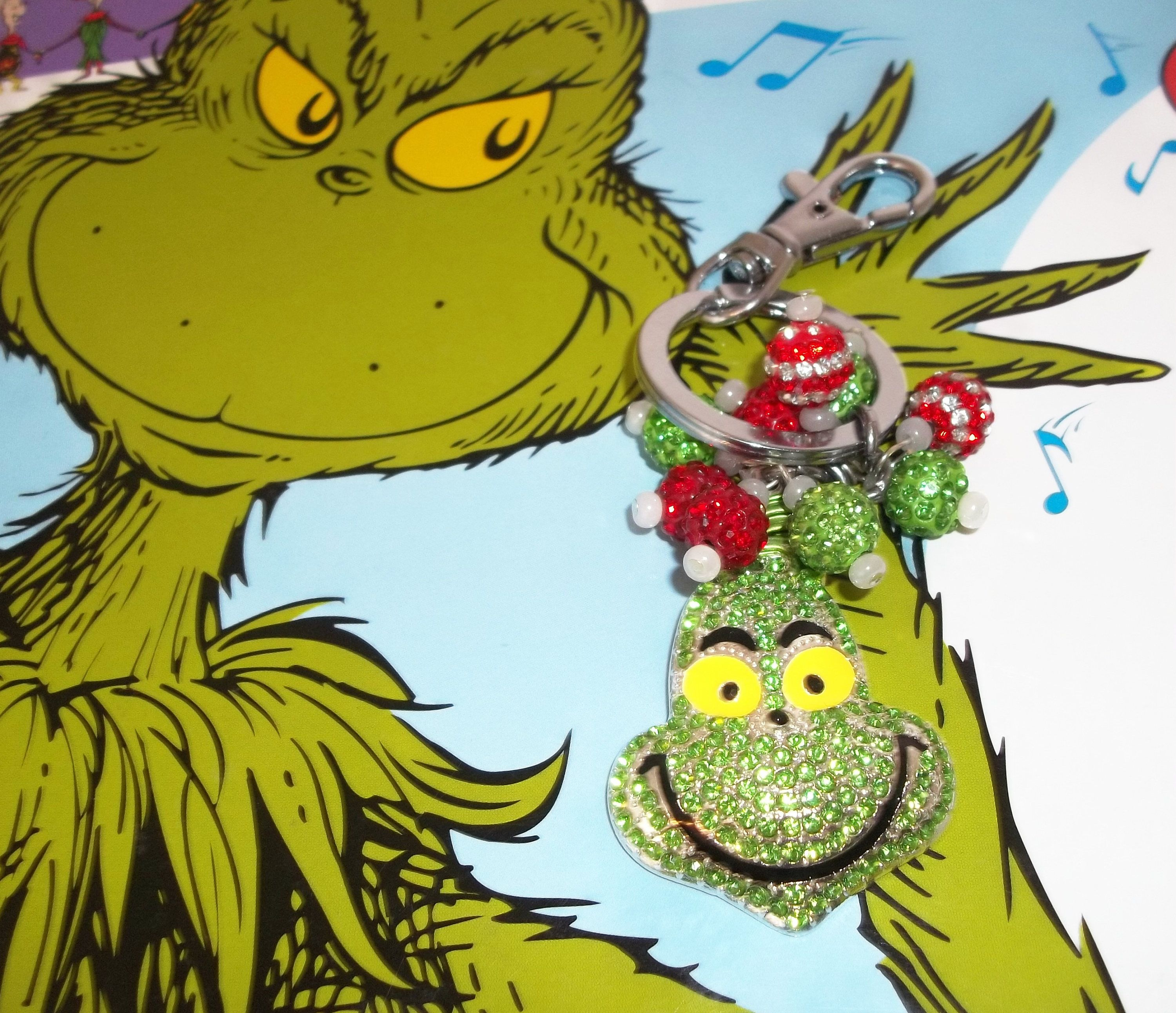 New Kawaii Rhinestone Glitzy Bling Beaded Grinch Christmas