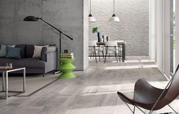 wohnzimmer design boden holzoptik fliesen grüner beistelltisch