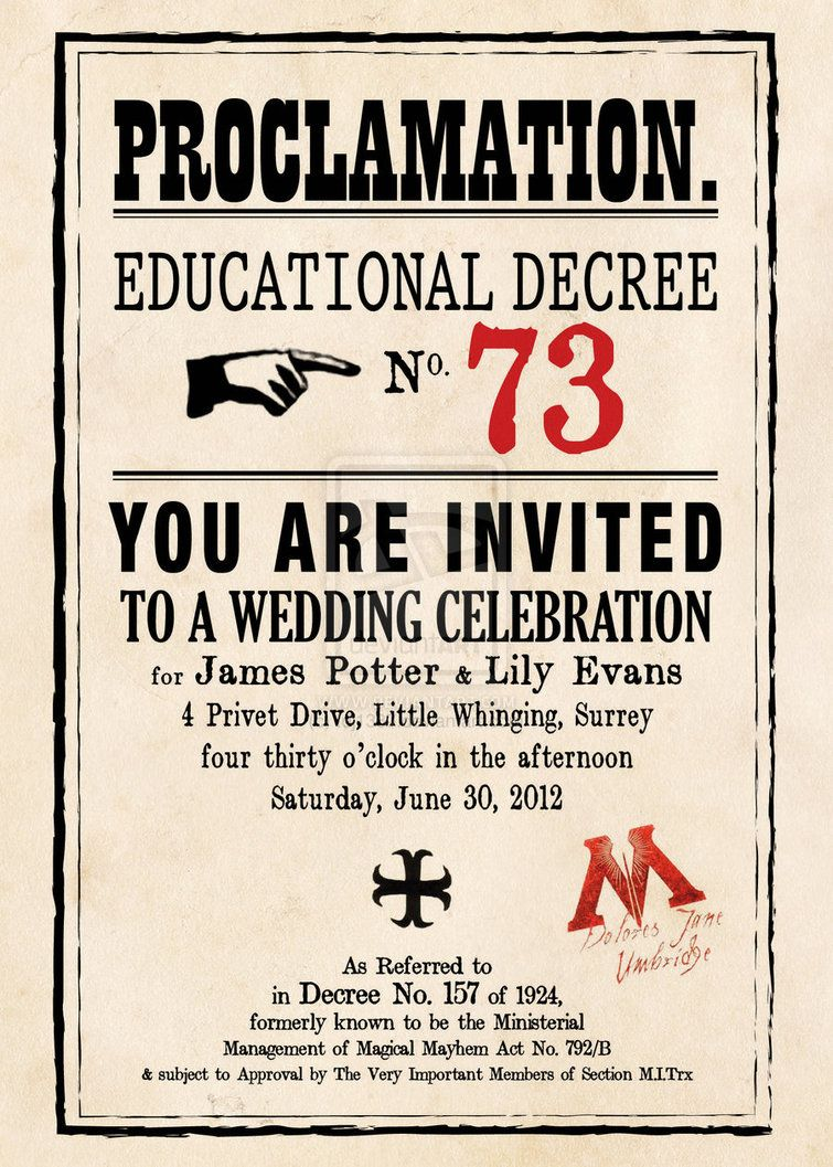 Harry potter themed wedding invitation. Love it! | Harry Potter ...