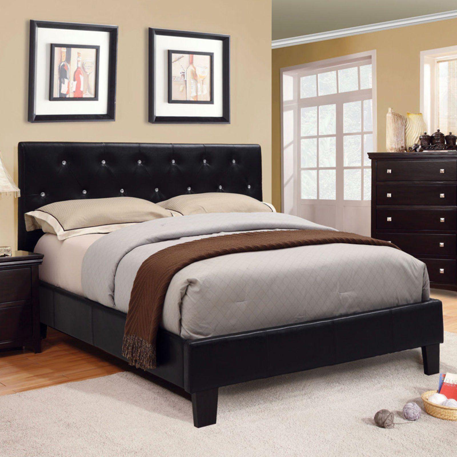 Furniture of America Vanna Rhinestone Tufted Platform Bed ...