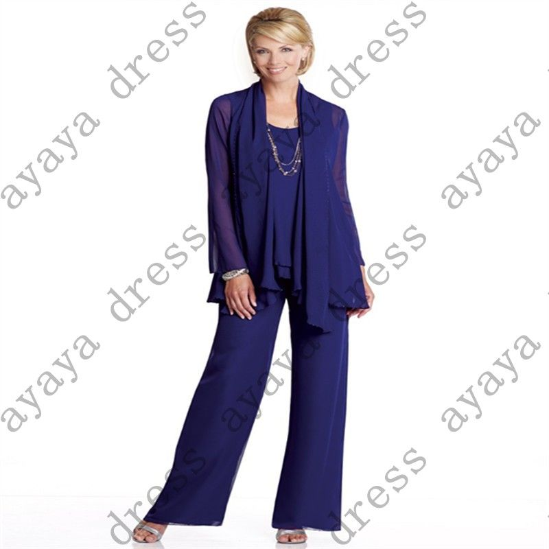 click to buy << wejanedress chiffon mother bride formal pant suits