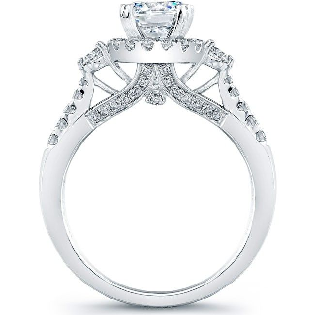 0ae516caf Natalie K Design no.NK20539-W This stunning semi mount engagement ring  features a three stone center design with 2 side round diamonds weighing  0.22 ctw., ...
