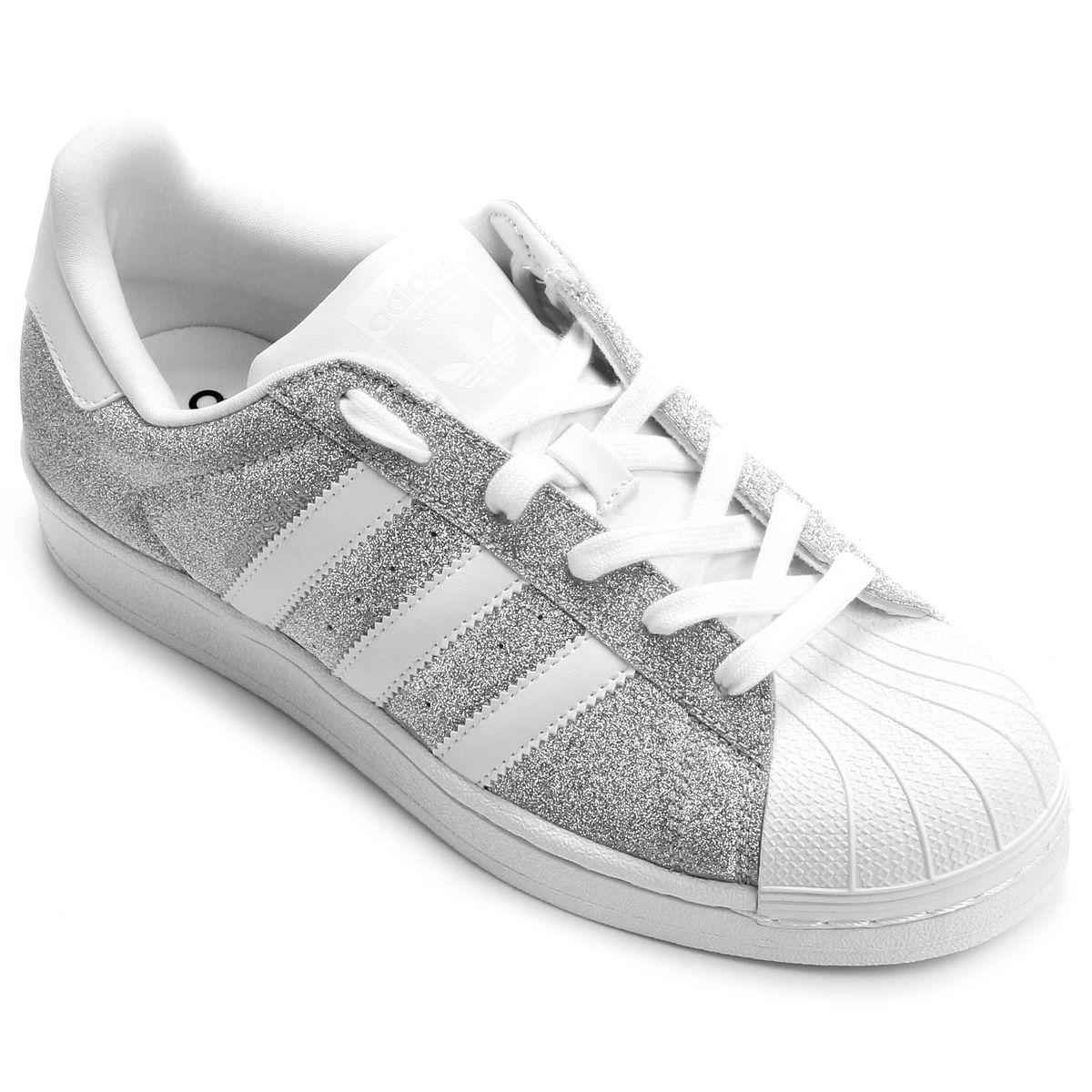 afedad12f79 Tênis Adidas Superstar Feminino - Prata e Branco