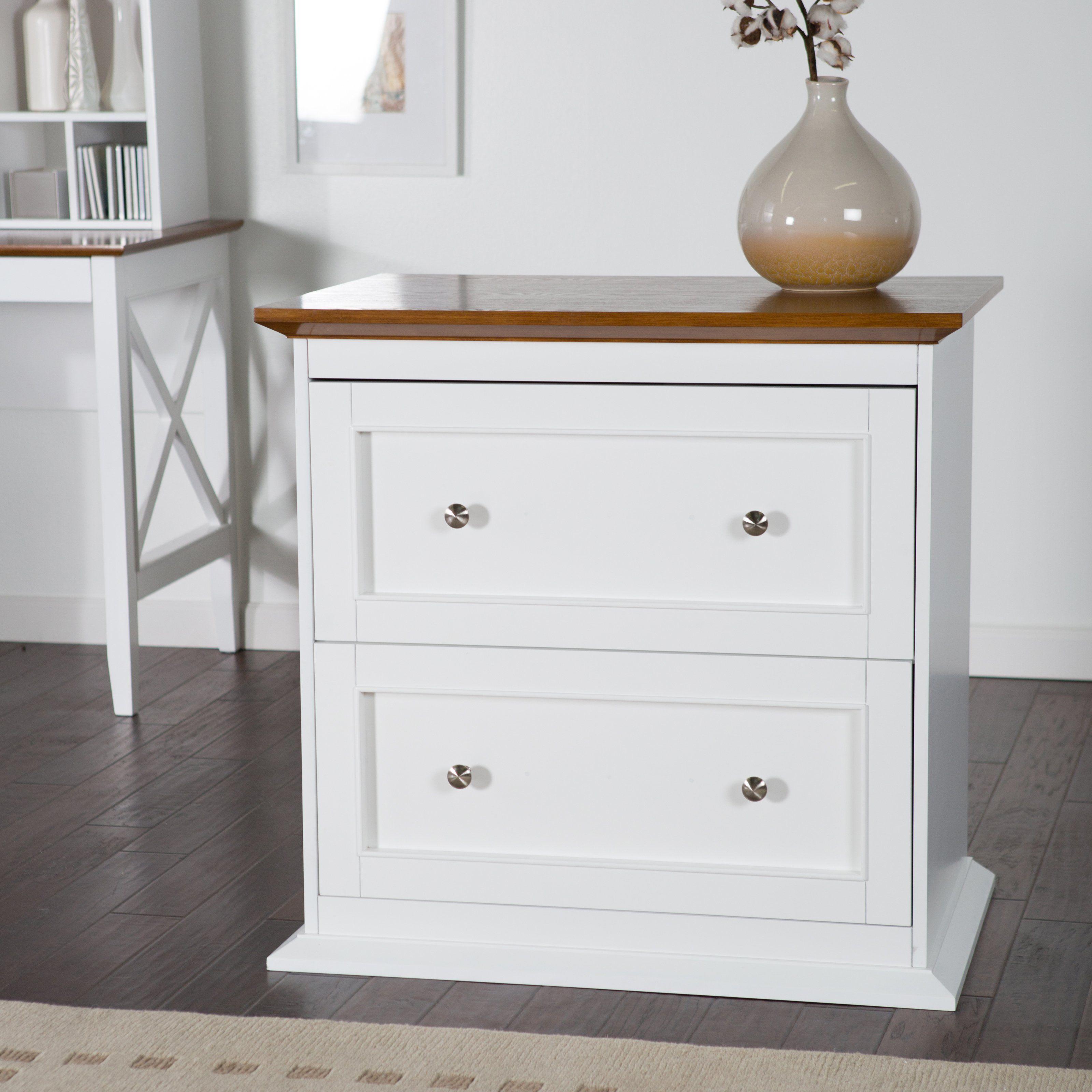 Belham Living Hampton 2 Drawer Lateral Wood File Cabinet White Oak Wood File Filing Cabinet Home Office Furniture