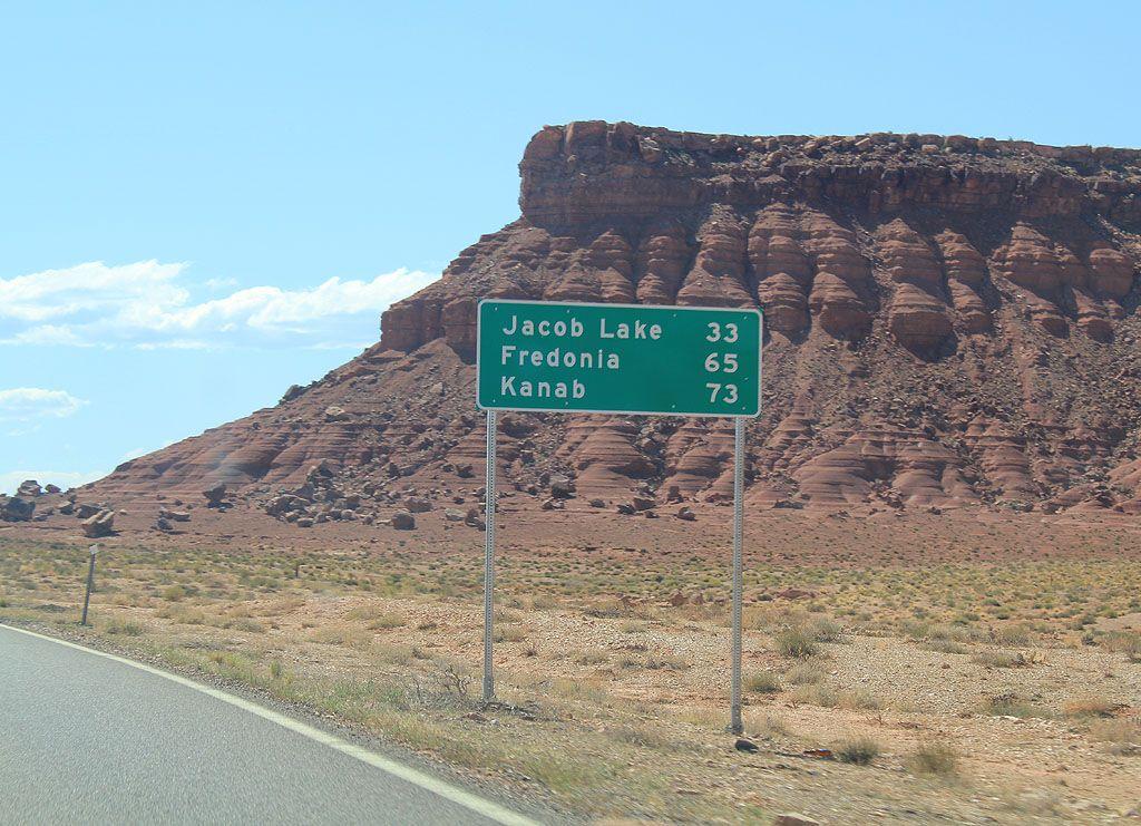 Fredonia Arizona Distance Sign To Jacob Lake And Kanab Utah